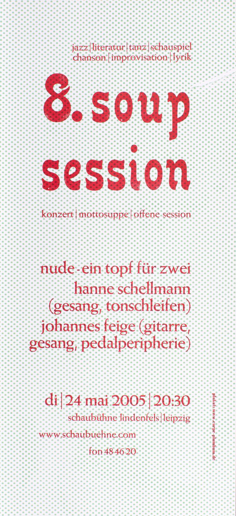 Soup session, Veranstaltungsplakat, Bleisatz, Gestaltung: Thomas Siemon