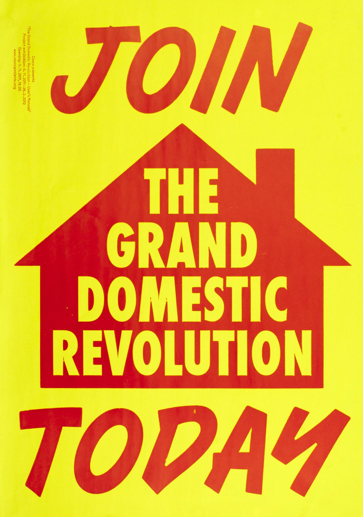 """""""Grand Domestic Revolution"""". Klischeedruck, 1-farbig. Gestaltung: Laurenz Brunner"""